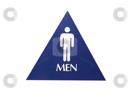 Men's Restroom Sign - Photo Object stock photo, Men's restroom sign, with clipping path included by Bryan Mullennix
