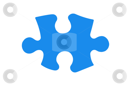 Puzzle Piece - Photo Object  stock photo, Blue puzzle piece, with clipping path by Bryan Mullennix
