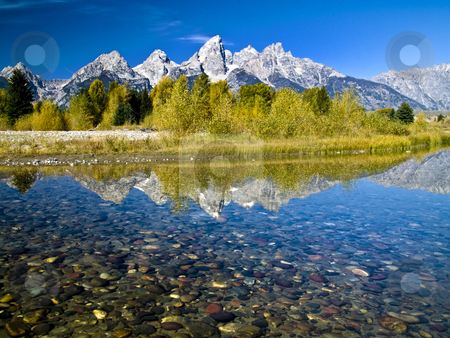 Grand Teton Reflection stock photo, Grand Tetons from Schwabachers Landing by Brian Johnson
