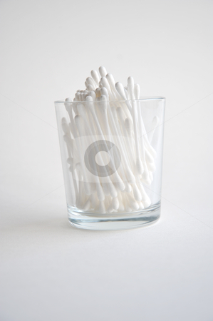 Organic cotton beautycare sticks in a glass stock photo, organic cotton beautycare sticks in a glass by zmokla