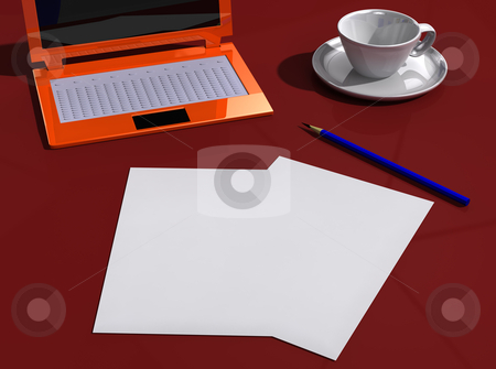 Desk with papers, laptop, pencil and cup stock photo, Red desk with papers, laptop, pencil and cup by vetdoctor