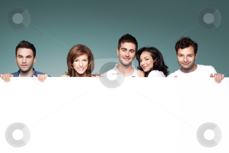 Friends advertising white board stock photo, group of funny friends holding a blank banner by dan comaniciu
