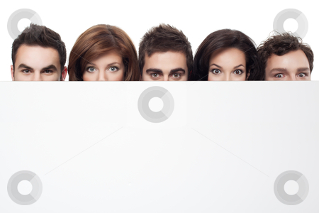 Advertising with funny faces stock photo, big eyes showing behind copy space for advertising by dan comaniciu