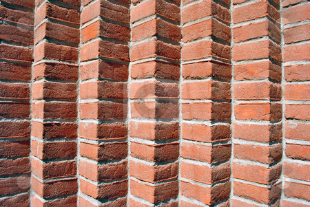 Red brick stock photo, red brick wall with joints in concrete and natural materials and low environmental impact by freeteo