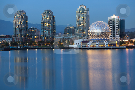 Vancouver B.C., Canada Skyline, skyline photography stock photo, Vancouver, British Columbia, Canada - May 23, 2008:  View of Vancouver's Science World at Telus World of Science and skyline looking across False Creek at dusk.  The Telus World of Science building was originally built for the 1986 World Exposition on Transportation and Communication also known as Expo 86. by Bryan Mullennix