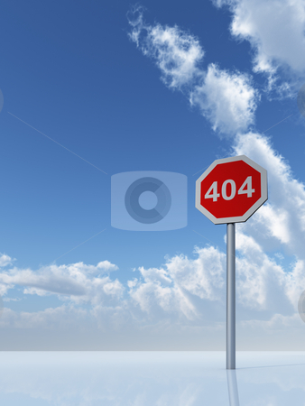 Error 404 stock photo, 404 sign under cloudy blue sky - 3d illustration by J?