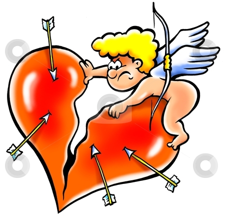 Angry Angel rips the heart into pieces  stock photo, Angry Angel rips the heart into pieces  by DrawShop - Poul Carlsen