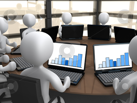 Business Meeting stock photo, 3d people sitting around a meeting table using their laptops. by Konstantinos Kokkinis