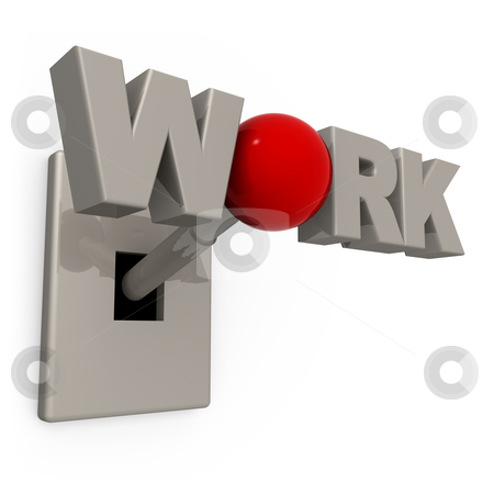 "Work Switch stock photo, 3D Switch with the word ""work"" spelled on it's knob. by Konstantinos Kokkinis"