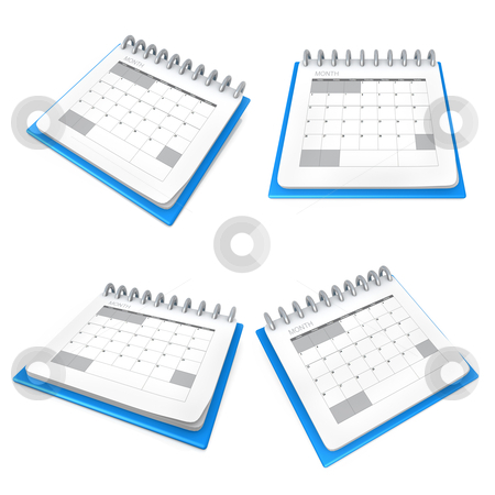 Calendar stock photo, A 3D calendar viewed from four angles . by Konstantinos Kokkinis