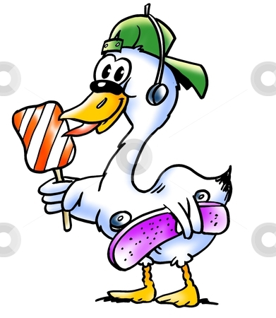 Swan with a lollipop and skateboard  stock photo, Swan with a lollipop and skateboard  by DrawShop - Poul Carlsen