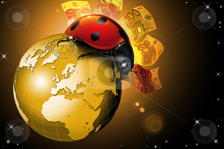 Lucky world stock photo, Lucky ladybug on the golden globe, with money and space star by catalby