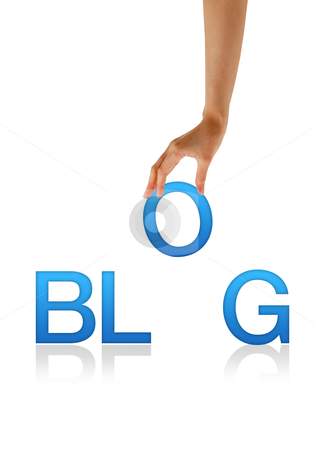 Blog - Hand stock photo, High resolution graphic of a hand holding the letter O from the word Blog. by kbuntu
