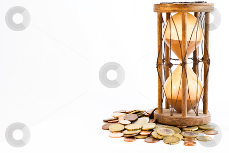 Time and money stock photo, Old hourglass (made in India, XIX century) with euros by Perseomedusa