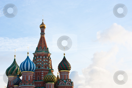 St Basils - Moscow stock photo, Architectural detail of St Basils Church in Moscow - copy space by Perseomedusa