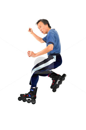 Man on roller blades stock photo, action rollerblading sports man on roller blades isolated copyspace by JOSEPH S.L. TAN MATT