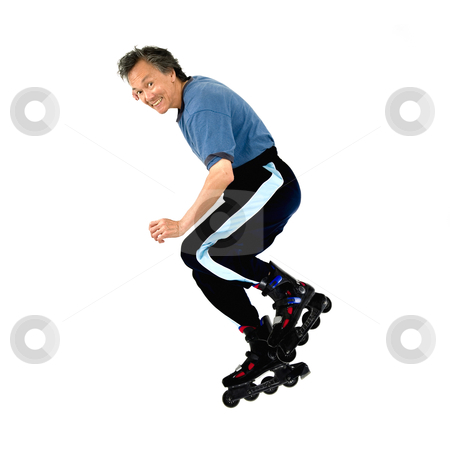 Roller blading skater isolated  stock photo, action rollerblading sports man on roller blades isolated copyspace by JOSEPH S.L. TAN MATT