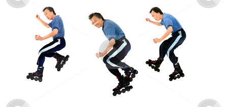 Roller blading skater isolated  stock photo, action rollerblading sports panoramic of man on roller blades isolated copyspace by JOSEPH S.L. TAN MATT