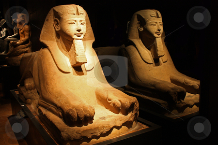 The Sphinx and the mirror stock photo, Egyptian statue in the Museo Egizio, in Turin, Italy. This museum is specialising in Egyptian archaelogy and anthropology. It houses the world's largest and most comprehensive collection of Egyptian antiquities outside the Egyptian Museum in Cairo by Perseomedusa