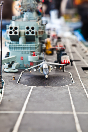 Ready for the war? stock photo, Plastic model detail of warship. Public collection. by Perseomedusa