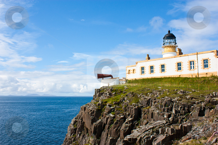 Lighthouse in Sutherland stock photo, Lighthouse in Sutherland, Scotland, close to cliffs by Perseomedusa