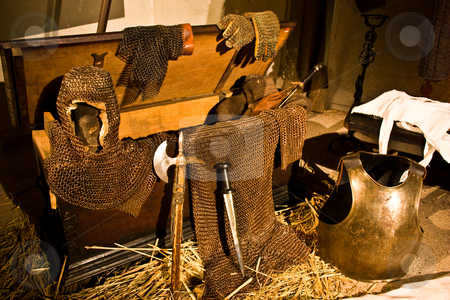 Medieval weapons stock photo, Medieval weapons in Italian castle, close to Turin, north Italy by Perseomedusa