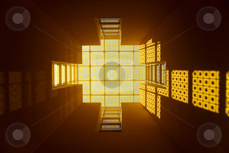 Yellow Glass Window stock photo, Looking up at a yellow glass roof by Kevin Tietz