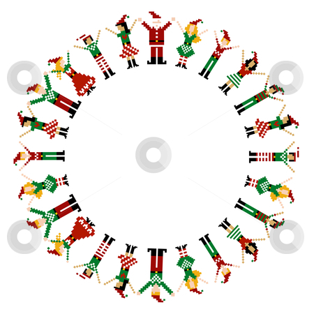 Merry Xmas happy circelebration stock photo, A circle of pixeled Xmas characters celebrating Christmas.  by Cienpies Design