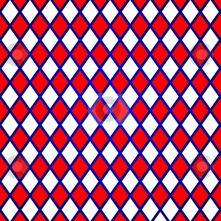 Red grid stock photo, Pattern of a red, blue, white abstract background by Henrik Lehnerer