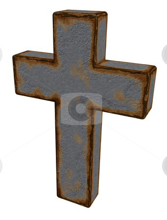Christian cross stock photo, rusty christian cross on white background - 3d illustration by J?