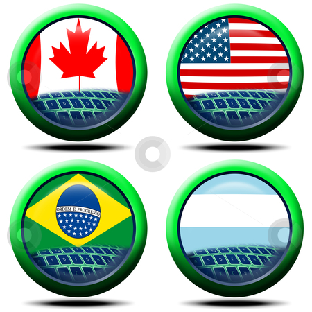Icons flag America stock photo, 4 icons with the flag of Canada, USA, Brazil, Argentina by catalby