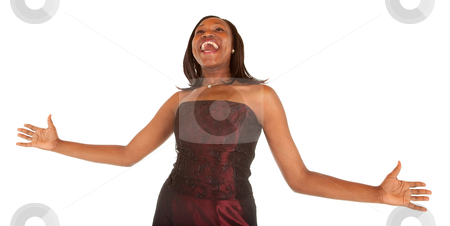 African American Woman Overjoyed about Something stock photo, African American woman overjoyed about something. by Denis Pepin