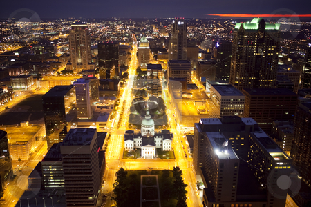 Downtown St. Louis Skyline at Night stock photo, View of downtown St. Louis, Missouri from the Gateway Arch at night by Bryan Mullennix