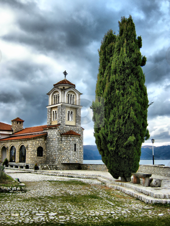 Bell tower stock photo, bell tower and Cypress Tree outside a Monastery of St.Naum-Ohrid by Mitko Peroski
