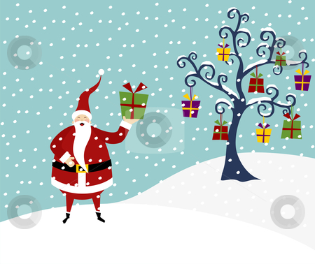 Christmas series: Happy Santa Claus and Christmas tree stock photo, Happy Santa Claus standing on a snow mountain and Christmas tree with lots of gifts by Cienpies Design