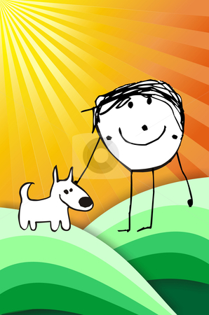 Colorful kid with his dog illustration stock photo, hand writting illustration of a happy kid playing with his dog. Vector format available by Cienpies Design