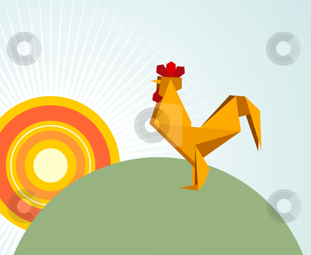Origami rooster stock photo, One Origami vibrant colors rooster. Vector file available. by Cienpies Design