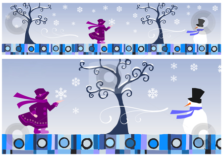 Seasons Collection: Winter stock photo, Girl and snowman in a winter day.  by Cienpies Design