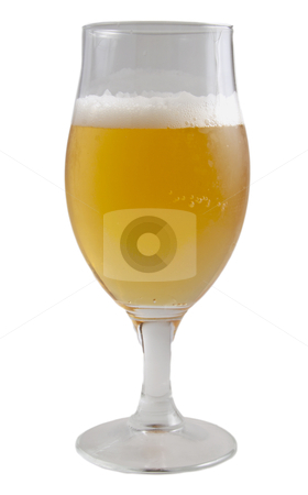 Beer stock photo, A glass of beer isolated over white background by Fabio Alcini