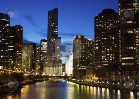 Night by the river  stock photo, Night by the river - Chicago, IL.  by Henryk Sadura