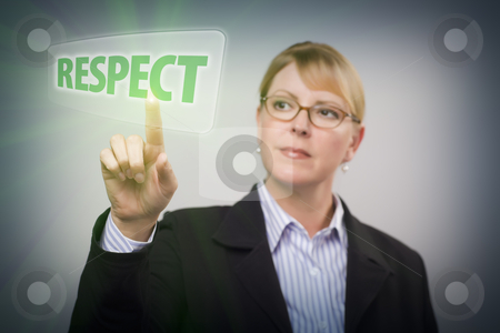 Woman Pushing Respect Button on Interactive Touch Screen stock photo, Attractive Blonde Woman Pushing Respect Button on an Interactive Touch Screen. by Andy Dean
