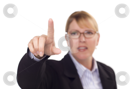 Businesswoman Reaching Out with Finger stock photo, Businesswoman Reaching Out with Finger - Ready for Your Own Buttons or Touch Screen. by Andy Dean