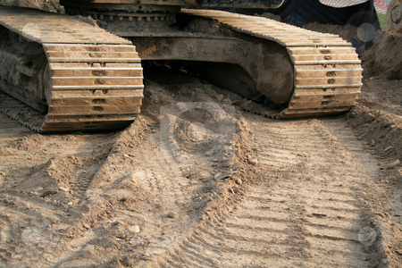 Backhoe Tracks stock photo, The tracks of a large backhoe. by Chris Hill