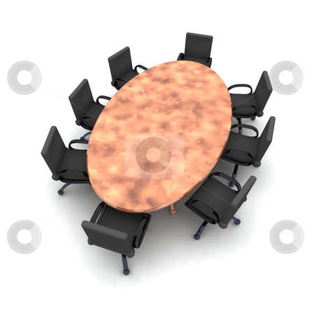 Round Table stock photo, 3D rendered illustration.  by Michael Osterrieder