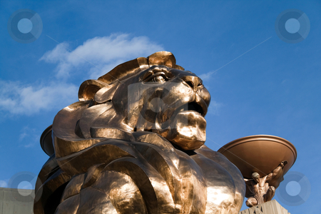 MGM Grand Hotel Lion stock photo, December 30th, 2009 - Las Vegas, Nevada, USA - The MGM Hotel and Casino lions head, which is to bring good luck and is the entrance to the hotel by Kevin Tietz