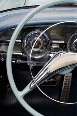 Antique car dashboard stock photo, The steering wheel and dashboard of an antique classic car. by © Ron Sumners