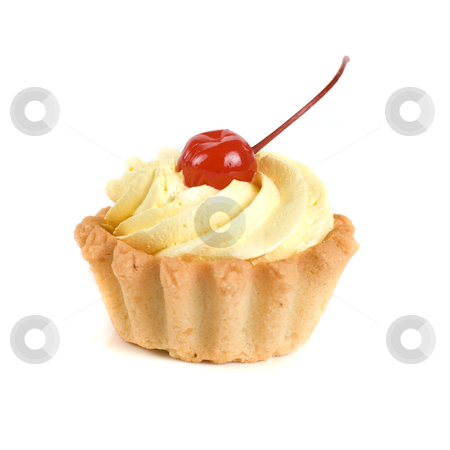 Cupcake stock photo, fresh baked cherry cupcake isolated on white and cherry by olinchuk