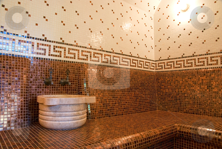 Turkish bath stock photo, Turkish bath with ceramic tile in roman style by olinchuk