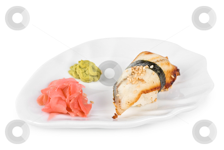 Unagi sushi stock photo, unagi sushi of eel with ginger, seaweed and sesame by olinchuk