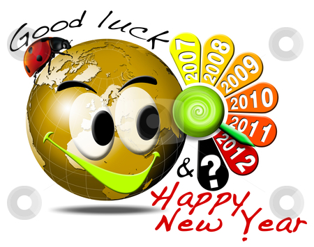 2012 happy new year clock stock photo, Globe smiling with ladybug charms and clock showing the year 2012 by catalby